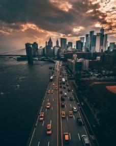 黃昏城市航拍