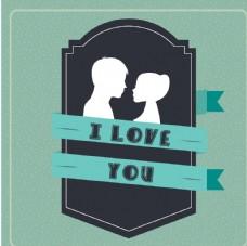 情侣卡通小人心形设计背景爱心