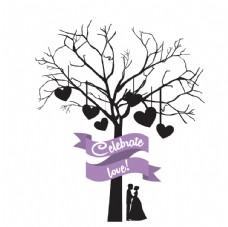 树下情侣拥抱卡通唯美浪漫设计