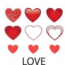 各种手绘卡通爱心心形设计