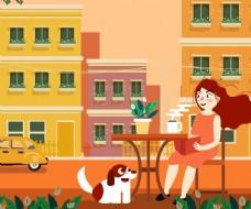 喝茶的女子和宠物狗