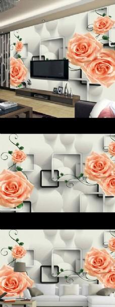 梦幻玫瑰花朵时尚电视背景墙