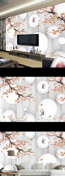 梦幻玫瑰花朵电视背景墙