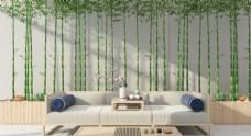 沙发背景墙绿藤