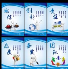 蓝色企业文化展板