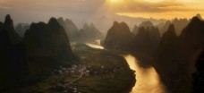 傍晚美丽的桂林山水