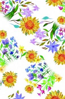 小碎花 手绘花 向日葵  数码