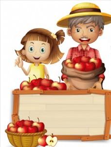 卡通果蔬和儿童