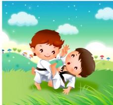 空手道 跆拳道 卡通