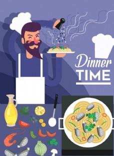 餐饮烹饪主题卡通插画
