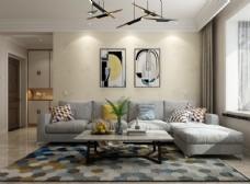 家装壁纸挂画展示空间效果图
