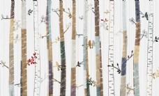 北欧清新森林绿色树林背景墙