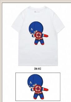 美国队长动漫卡通胸前印花t恤