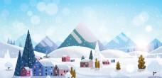 冬季圣诞节城市风景插画