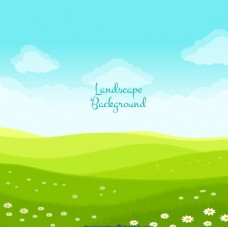 草地蓝天白云