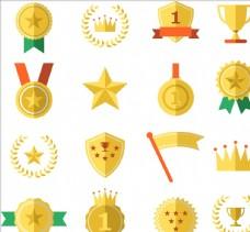 矢量奖牌徽章图标