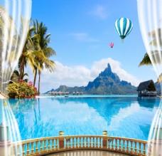 阳台椰树山水风景