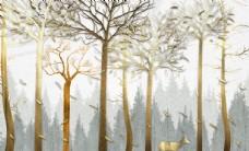 森林鹿电视背景墙