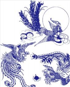 凤凰青花瓷中国风矢量花纹