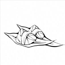 手绘粽子 线描食物 食物线稿