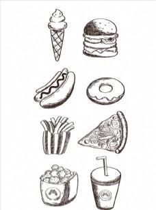 手绘食物 线描食物 食物线稿