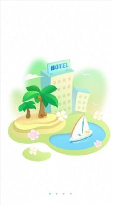 手机首页开机闪屏启动图帆船度假