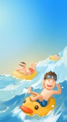 手机首页开机闪屏启动图冲浪夏天