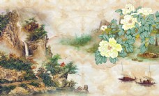 中国画山水背景墙