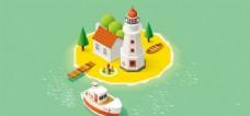 卡通度假孤岛海岛小岛小船
