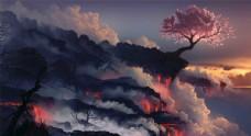 熔岩 自然 树 创意设计