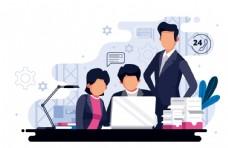 扁平化商务办公插画设计