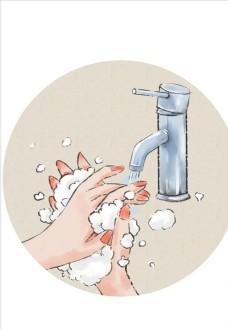 勤洗手预防新型冠状病毒肺炎插画