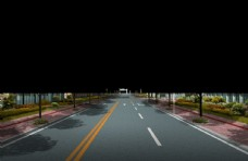 道路绿化 景观效果图
