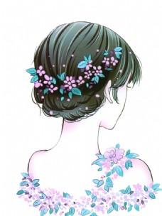 花朵背影女孩