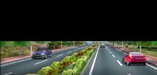 道路绿化 景观效果图 绿化景观