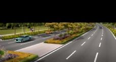 江滨路道路绿化 景观效果图