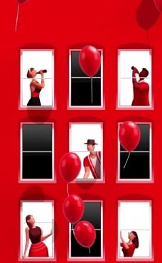 情人节海报红色底图