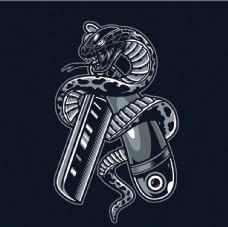 创意手绘漫画涂鸦眼镜蛇插画设计