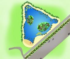 路边池塘景观设计平面效果图