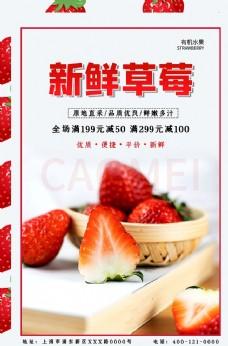新鲜草莓浅灰色简约海报