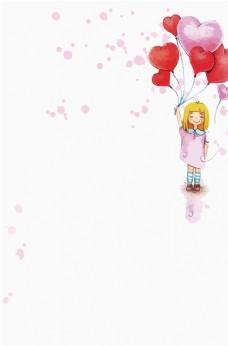 拿气球的小女孩暖色背景