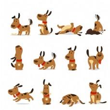 可爱小狗矢量插画
