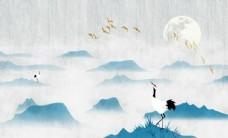 中式山水仙鹤
