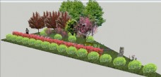 路口三角绿化模型