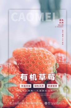 水果促销草莓红色简约海报