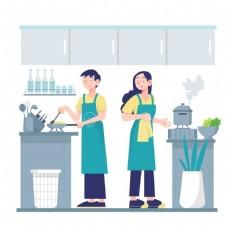 厨房烹饪场景插画设计