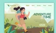 创意背包客女子旅行网站插画设计