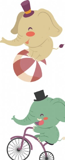 马戏团大象卡通动物儿童插画素材