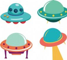 外星飞碟飞船卡通儿童插画素材