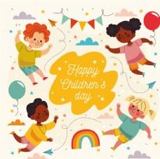 可爱卡通儿童生日快乐插画设计